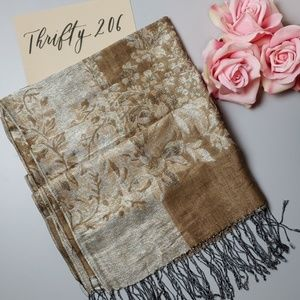 Accessories - Long Shimmering Floral Pattern Tassel Scarf